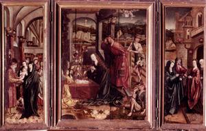 De presentatie (links), de aanbidding van de herders (midden), de visitatie (rechts)