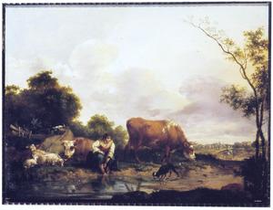 Weids landschap met een herderin die haar voeten wast in een beek