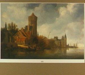 Rivierlandschap met kasteel en poortgebouw op linkeroever
