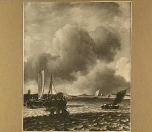 Riviergezicht met enkele zeilschepen, met in de achtergrond Gorinchem met slot Loevestein en Woudrichem
