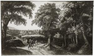 Bebost landschap met ruiters, wandelaars en een koets