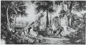 Dansers bij een fontein