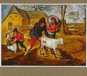 Boeren en kinderen met vee op het erf