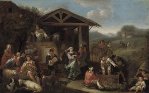 Vrolijk gezelschap in een landschap bij een wijjnpers