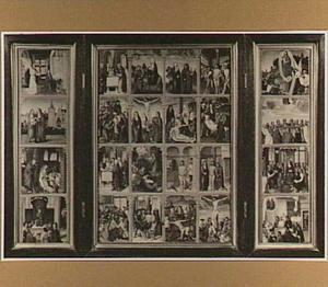 Drieluik met 24 voorstellingen uit het leven van Christus en van Maria