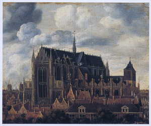 Gezicht op de Hooglandse of St. Pancraskerk in Leiden