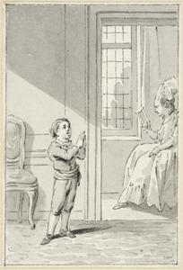 Illustratie voor 'Het tederhartige kind' in de Kleine gedichten voor kinderen door H. van Alphen