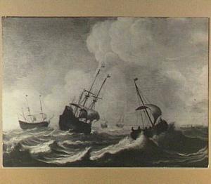Vijf schepen in een storm