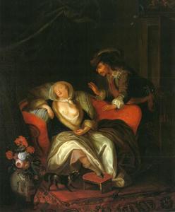 Slapende jonge vrouw bespied door een cavalier