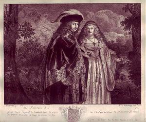 Rijk gekleed echtpaar in een landschap