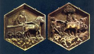 Handel: aards welvaren (links), ploegen (rechts)