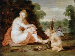 Venus en Cupido warmen zich (Venus frigida)