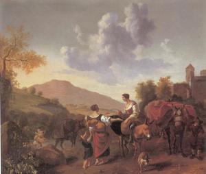 Zuidelijk landschap met reizigers onderweg (Ochtend)