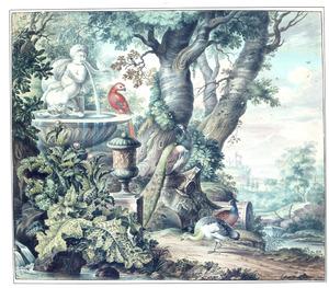 Riviergezicht met vogels bij een klassieke ruïne, geheel links een fontein met op de rand een papegaai