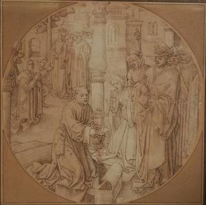 Mordechai (geknield) ontvangt geschenken van Ahasverus als dank voor het ontdekken van een samenzwering (Esther 2:19-23/12:15) (?)
