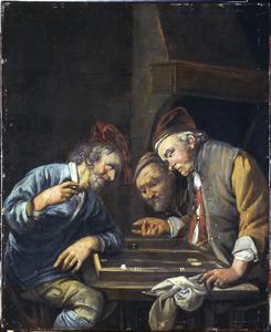 Drie mannen bij het triktrakspel