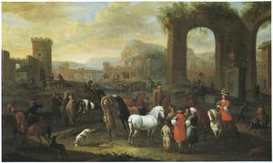 Zuidelijk landschap met jagers, herders en reizigers bij ruïnes