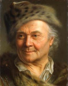 Portret van een oude man met een gevlekte bontmuts