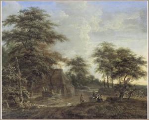 Landschap met halthoudende ruiter en reizigers op een weg langs een boerderij