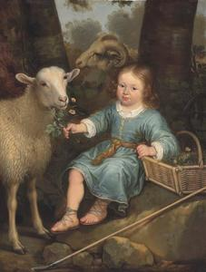 Portret van een jongen met twee schapen, geidentificeerd als prins Willem III van Oranje, de latere stadhouder-koning Willem III