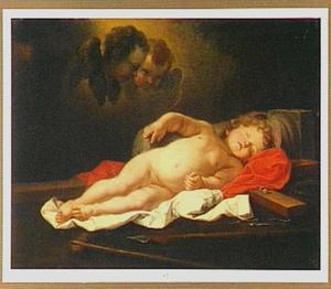 Christus als kind slapend op de Arma Christie