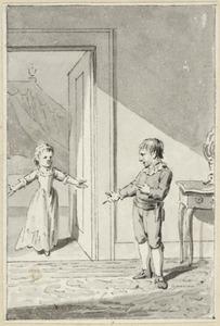 Illustratie voor 'Het verhoorde gebed' in de Kleine gedichten voor kinderen door H. van Alphen