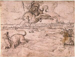 Perseus verslaat het zeemonster, op de achtergrond Brussel en de Notre Dame de la Chapelle
