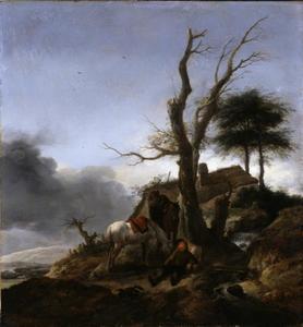 Heuvellandschap met rustende reizigers
