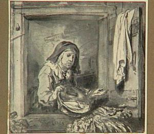 Oude vrouw met lege schaal in een vensteropening