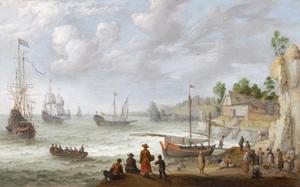 Schepen voor een rotskust; op het strand een vismarkt