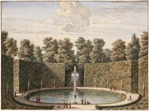 De grote ovalen vijver van het Huis Heemstede bij Houten, gezien naar het jachtterrein