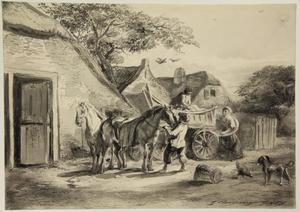 Boerenerf met paarden, figuren en een boerenwagen