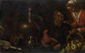 Keukenstuk met een oude man met een haan en een hond en een jonge vrouw