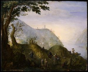 Heuvellandschap met reizigers op een weg langs een rivier