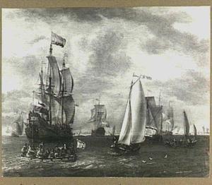 Hollandse schepen op de rede van een stad