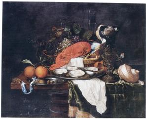 Stilleven met vruchten, oesters en een kreeft