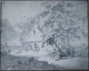 Landschap met figuren bij een herherg