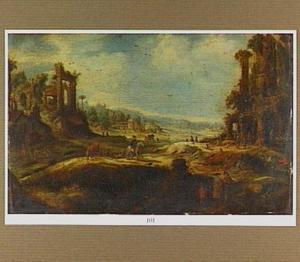 Zuidelijk landschap met antieke ruïnes, rechts een herberg