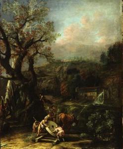 Landschap met molensteen