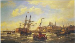 Zeilschepen voor de haven van Vlissingen