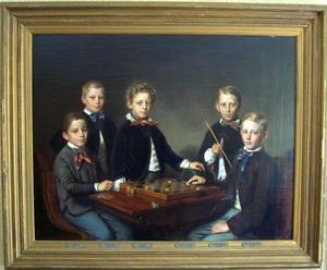Groepsportret van de vijf zonen van Frederik Ulderik van Hengel (1814-1876) en Paulina Aletta van den Ende (1818-1853)
