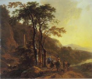 Zuidelijk landschap met reizigers