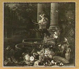 Stilleven van vruchten, groente en dieren aan de rand van een fontein, links een doorkijk naar parkachtige tuin