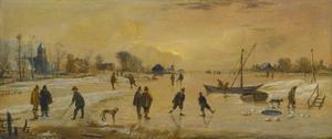Winterlandschap met schaatsers en kolfspelers, links een dorp