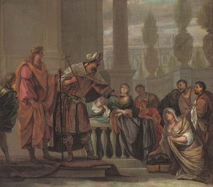 Jozef door Potifars vrouw valselijk beschuldigd (Genesis 39:13-18)
