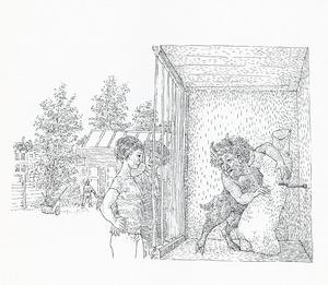Satyr in kooi