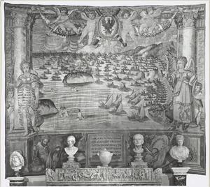 Overwinning van de Heilige Liga en vlucht van de zeven Turkse galeien na de slag bij Lepanto (1571)