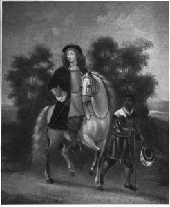 Portret van een onbekende man te paard, met een bediende