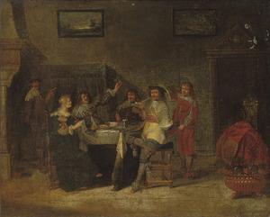 Elegant rokend, drinkend en musicerend gezelschap in een interieur