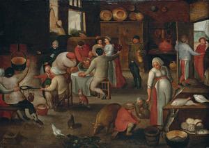 Interieur van een herberg met een boerengezelschap, Maria en Josef worden weggestuurd bij de deur